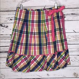 Lilly Pulitzer 10 Multi-Color Plaid Wrap Skirt